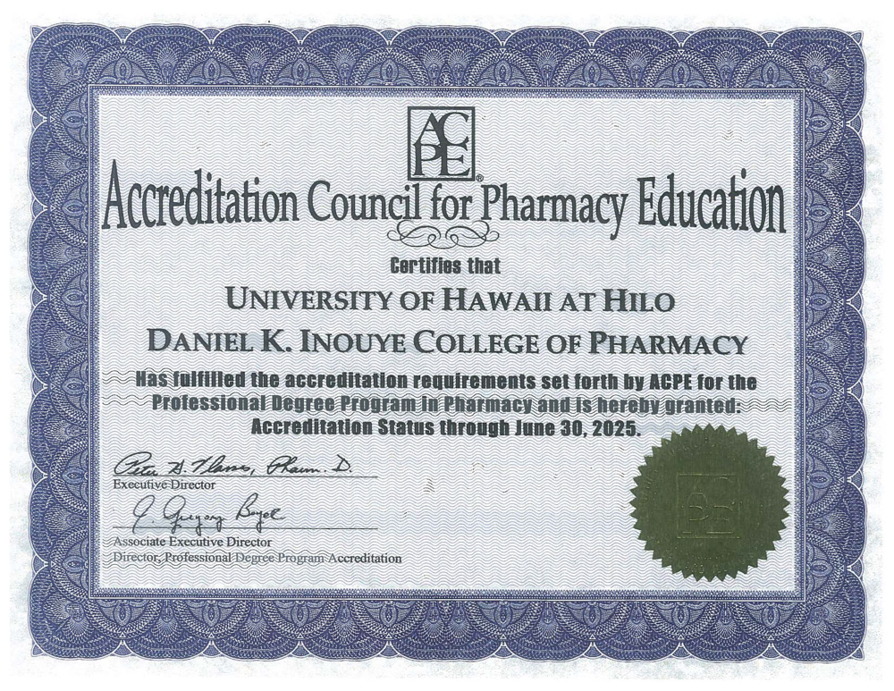 ACPE Certificate of Accreditation